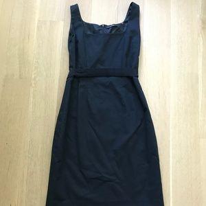 NAVY BELTED TAHARI SQUARE-NECK DRESS